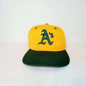 Oakland A;s Yellow and Green Ball Cap Hat Adjustab